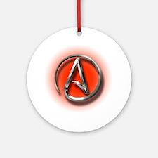 Atheist Logo (red) Ornament (Round)