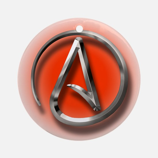 Atheist Logo (red) Ornament (Round)