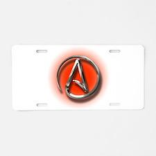 Atheist Logo (red) Aluminum License Plate