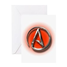 Atheist Logo (red) Greeting Card
