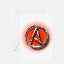 Atheist Logo (red) Greeting Card