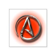 "Atheist Logo (red) Square Sticker 3"" x 3"""