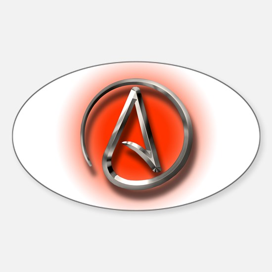 Atheist Logo (red) Sticker (Oval)