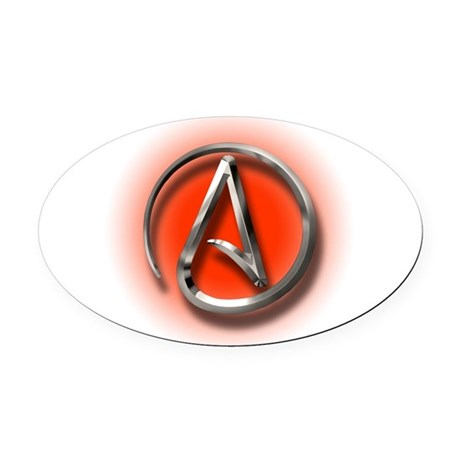 Atheist Logo (red) Oval Car Magnet