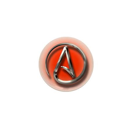 Atheist Logo (red) Mini Button (100 pack)