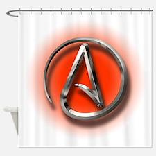 Atheist Logo (red) Shower Curtain