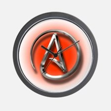 Atheist Logo (red) Wall Clock