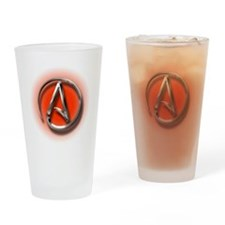 Atheist Logo (red) Drinking Glass
