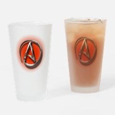 Atheist Logo (red) Drinking Glass