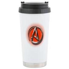 Atheist Logo (red) Travel Mug