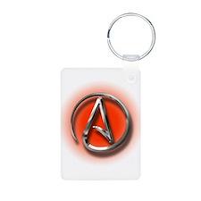 Atheist Logo (red) Keychains