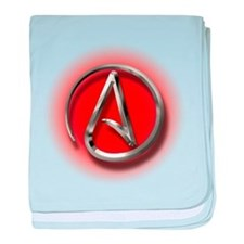 Atheist Logo (red) baby blanket