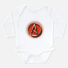 Atheist Logo (red) Long Sleeve Infant Bodysuit