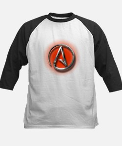 Atheist Logo (red) Kids Baseball Jersey