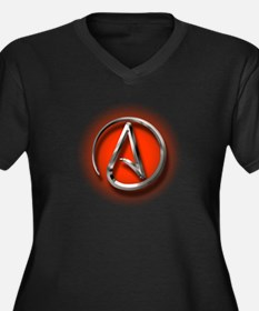Atheist Logo (red) Women's Plus Size V-Neck Dark T