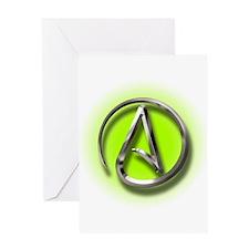Atheist Logo (green) Greeting Card