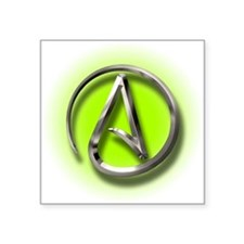 "Atheist Logo (green) Square Sticker 3"" x 3"""