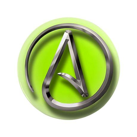 "Atheist Logo (green) 3.5"" Button (100 pack)"