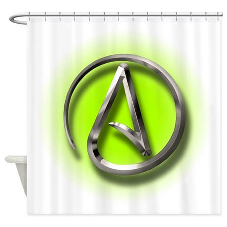 Atheist Logo (green) Shower Curtain