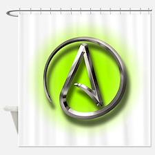 Atheist Logo (green) Shower Curtain