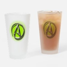 Atheist Logo (green) Drinking Glass