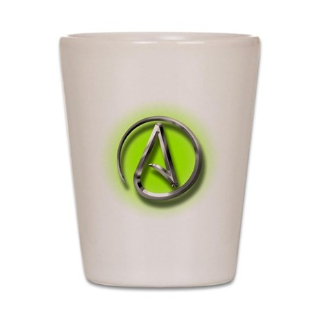 Atheist Logo (green) Shot Glass
