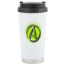 Atheist Logo (green) Travel Mug