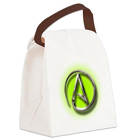 Atheist Logo (green) Canvas Lunch Bag