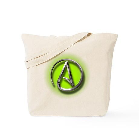 Atheist Logo (green) Tote Bag