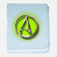Atheist Logo (green) baby blanket