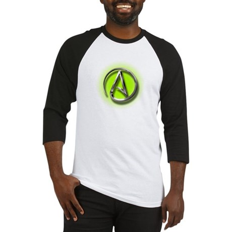 Atheist Logo (green) Baseball Jersey