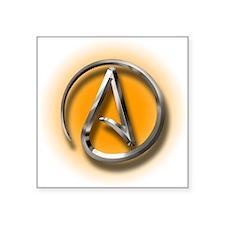 "Atheist Logo (orange) Square Sticker 3"" x 3"""