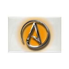 Atheist Logo (orange) Rectangle Magnet