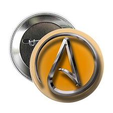 """Atheist Logo (orange) 2.25"""" Button"""