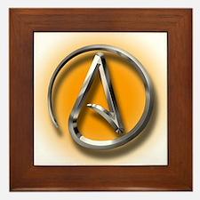 Atheist Logo (orange) Framed Tile