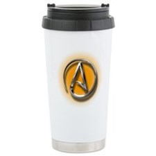 Atheist Logo (orange) Travel Mug