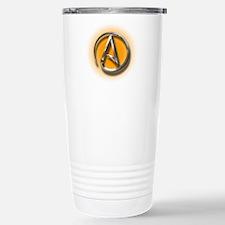 Atheist Logo (orange) Travel Mug