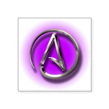 "Atheist Logo (purple) Square Sticker 3"" x 3"""