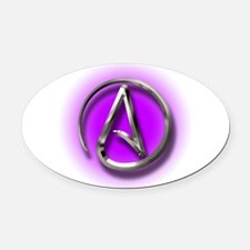 Atheist Logo (purple) Oval Car Magnet