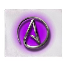 Atheist Logo (purple) Throw Blanket