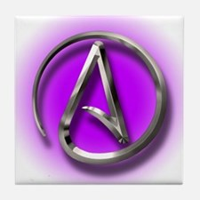 Atheist Logo (purple) Tile Coaster