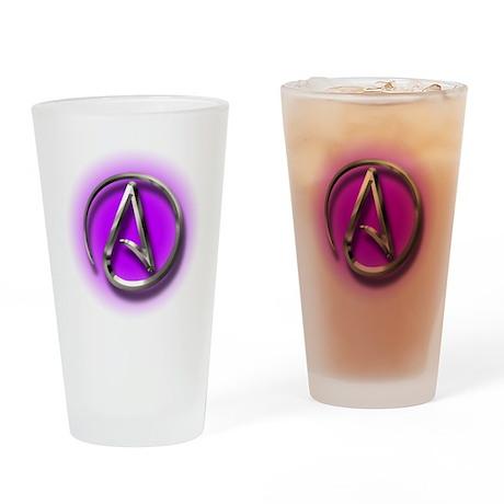 Atheist Logo (purple) Drinking Glass
