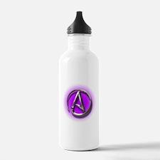 Atheist Logo (purple) Sports Water Bottle