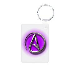 Atheist Logo (purple) Keychains