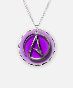 Atheist Logo (purple) Necklace