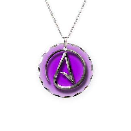 Atheist Logo (purple) Necklace Circle Charm