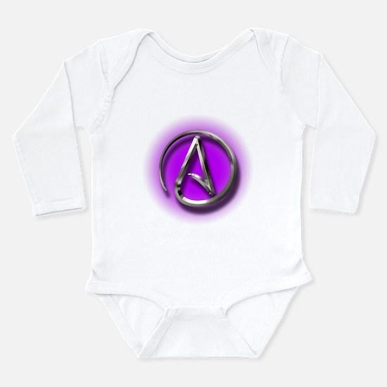 Atheist Logo (purple) Long Sleeve Infant Bodysuit