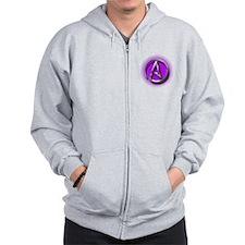Atheist Logo (purple) Zip Hoodie