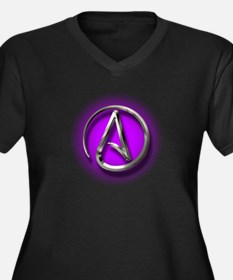 Atheist Logo (purple) Women's Plus Size V-Neck Dar