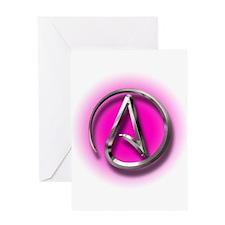 Atheist Logo (pink) Greeting Card